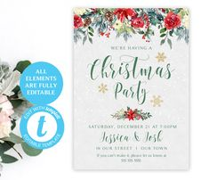 Christmas Party Invitation | EDIT with Templett | Two Designs | Instant Download Template | 5 x 7 | Party Invite | Festive Woodland Theme #template #christmassigns #christmas #christmasdecor #holidaydecor #christmasposter #printablechristmas #christmasprintables #merrychristmassign	#christmasparty #holidayparty #holly #christmaspartysign #christmasposter #printableposter #newyearseve #woodland #holidayparty #holidaydecor #poinsettia Christmas Poster, Christmas Signs, Photo Booth Frame, Wedding Welcome Signs, Christmas Party Invitations, Floral Theme, Woodland Theme, Cream Roses, Christmas Printables