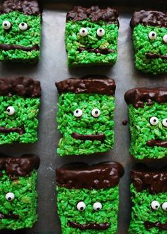 Frankenstein-Krispies Recipe for Hallown! This Halloween Dessert recipe is gluten, egg, soy, dairy and peanut treedairy free plus there's a vegan option!