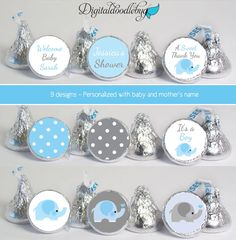 baby shower favors stickers for mini candy (No.K41) elephant boy polka dots blue gray by digitaldoodlebug on Etsy https://www.etsy.com/listing/158215469/baby-shower-favors-stickers-for-mini