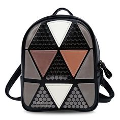 28191b2681f4 Lovely PU Leather Triangular Applique Color Blocking Women Backpack  Teenagers