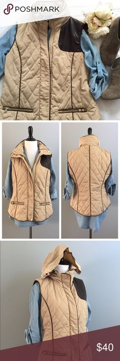 🆕 Zara quilted vest Perfect Fall must have! Has front zipper and button closures. Features faux leather accents and piping and has hidden hood in collar zipper. Measurements: 19 inches underarm to underarm; 23 inches shoulder to bottom hem. In excellent condition with no stains, no rips, and perfectly functioning zippers! Zara Jackets & Coats Vests
