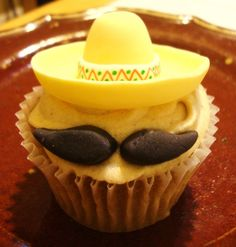Handmade Sombrero and Mustache Fondant Cupcake Toppers by SugarShackCupcakes
