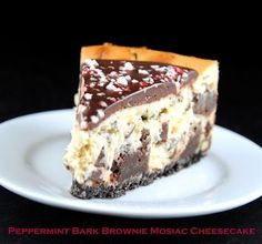 Peppermint Bark Brownie Mosaic Cheesecake