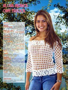 As Receitas de Crochê: Blusa de crochê com treliça