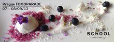 Camomile ice cream on blueberry sugar, mascarpone and flowers Blueberry, Panna Cotta, Menu, Ice Cream, Dishes, Breakfast, Ethnic Recipes, Flowers, Desserts