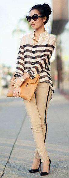 Cream-colored pants, striped cream shirt