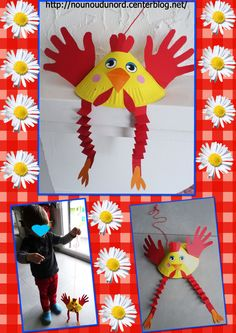 Gaspard a réalisé une poule très amusante et surtout il peut jouer avec il adore la faire marcher et sauter grâce à la ficelle Easter Craft Activities, Easter Crafts For Kids, Summer Crafts, Paper Plate Animals, Chinese New Year Crafts, Chicken Crafts, New Year's Crafts, Diy Ostern, Paper Plate Crafts