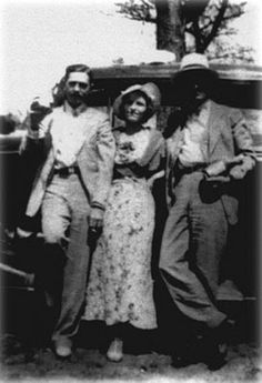 Clyde Barrow, Bonnie Parker, and Buck Barrow | outlaws | on the run | vintage photograph | gangsters | infamous