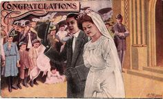 Love the bride and groom faces on vintage postcard by betsy dunlap