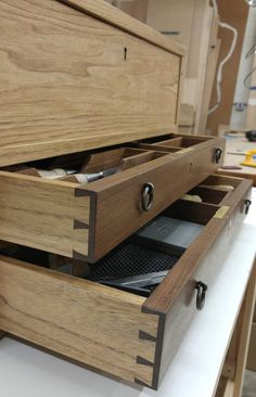 Essential Tool Chest constructed from Butternut, Walnut and Wenge wood.