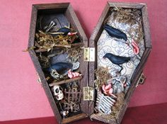 Hey, I found this really awesome Etsy listing at https://www.etsy.com/listing/162876853/a-murder-of-crows-miniature-coffin