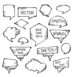 dialog box collection of vintage comics balloons in hand drawn