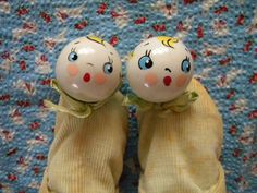 Vintage Pair of Baby Shoes with Celluloid Toy by SongbirdSalvation