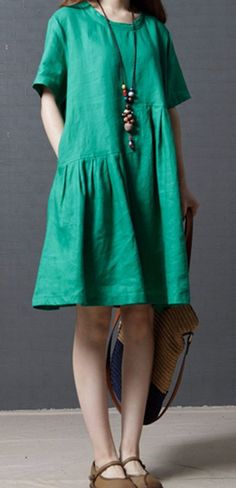 Women loose fitting over plus size green dress maxi tunic pregnant fashion chic #Unbranded #dress #Casual