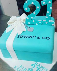 Pastel tiffany blue quilted cake for 21st birthday