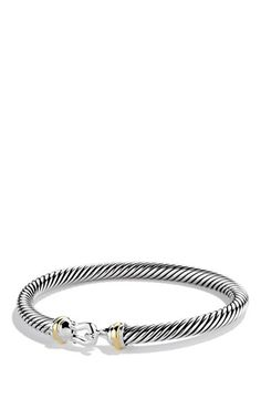 "Free shipping and returns on David Yurman 'Cable Buckle' Bracelet at Nordstrom.com. Sterling silver and 18-karat yellow gold. Cable, Inner circumference: S=6"", M=6 1/4"". 5mm wide. Hook opening. By David Yurman; made in the USA."