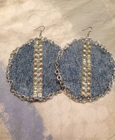 Denim chain& stud earrings , chain earrings , stud earrings on Etsy, $25.60  #payPal Accepted for Custom orders !  Message me today