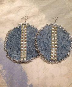 Denim chain& stud earrings , chain earrings , stud earrings on Etsy, $25.60