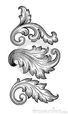 Vintage baroque leaf scroll set black and white foliage floral ornament . - Vintage baroque leaf scroll set black and white foliage floral ornament filigree engraving r - Illustration Vector, Vector Art, Vector Stock, Filigrana Tattoo, Baroque Frame, Molduras Vintage, Ornament Pattern, Filigranes Design, Table Design