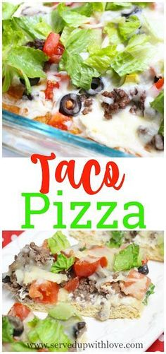 Easy Taco Pizza recipe from Served Up With Love is super easy to whip up on a busy night. The family devours this every time. #taco #dinner #pizza #easy #recipes