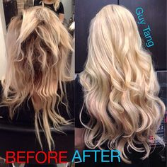 From Hot Mess to Hot Hair. I fixed her fried hair and added extensions from @BELLAMI Hair