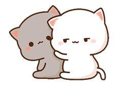 White and Grey cats Cute Couple Cartoon, Cute Cartoon Pictures, Cute Love Cartoons, Cat Couple, Cute Anime Cat, Cute Cat Gif, Cute Cats, Cute Bear Drawings, Cute Cartoon Drawings