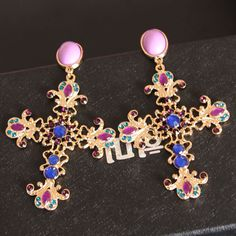 Find More Drop Earrings Information about New fashion Big cross earrings baroque exaggerated nightclub long blue gem pendants female earrings jewelry for women A944,High Quality jewelry model,China jewelry bear Suppliers, Cheap jewelry hinge from The Sunny Day on Aliexpress.com