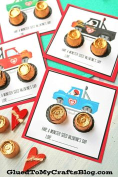 "Inspired by my monster truck lovin' son - today I present to YOU our ""Have A Monster Sized Valentine's Day"" gift tag printable idea! Kinder Valentines, Valentine Gifts For Kids, Valentine Day Boxes, Homemade Valentines, Valentines Day Decorations, Valentine Day Crafts, Free Printable Valentines, Preschool Valentine Ideas, Monster Truck Valentine Box"