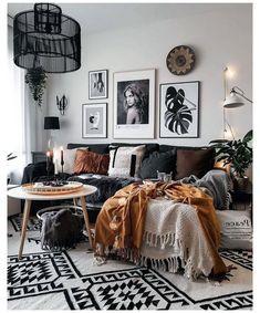 Boho Living Room Decor, Living Room On A Budget, Living Room Modern, Home Living Room, Apartment Living, Bohemian Decor, Bright Apartment, Small Living, Living Room Ideas Scandinavian Style