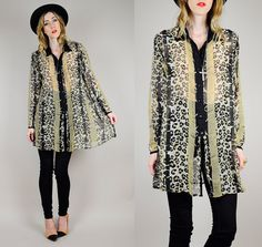 vintage 80's SHEER LEOPARD animal print tunic by NOIROHIOVINTAGE, $58.00
