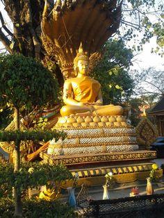 Buddha at sunset,  Vientiane, Laos. http://viaggi.asiatica.com/