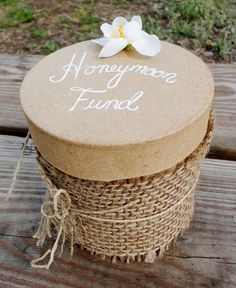 Don't have a Wedding Gift list? Don't know what to buy a couple wom already have a home? Ask for donations towards your Honeymoon ~ Burlap Honeymoon Fund Box Diy Wedding Reception, Wedding Boxes, Rustic Wedding, Our Wedding, Dream Wedding, Wedding Ideas, Wedding Stuff, Wedding Inspiration, Honeymoon Fund