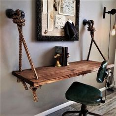 Rope & Pipe DESK Suspended Wood - Wall Mounted - Standing Computer Laptop Desk - Floating Industrial Hanging Shelf Table - Home DIY Idea Hanging Table, Hanging Shelves, Floating Shelves, Rope Shelves, Floating Desk, Diy Hanging, Glass Shelves, Floating Computer Desk, Industrial Computer Desk