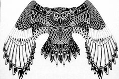 Tribal+Owl+Tattoos | Black Owl Tribal Pattern Tattoo Design Tattoos