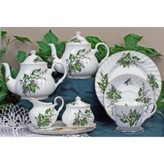 The Lily of the Valley Fine Bone China pattern is available as a complete tea set.