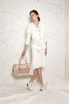 #danieladallavalle #collection #ss16 #elisacavaletti #jacket #top #skirt #bag #socks #shoes #white #gold #beige #stripes #leather