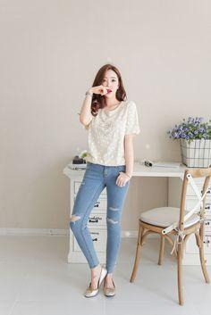 3-Cut Skinny Jean | Korean Fashion