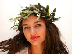 Olive leaf crown Woodland headpiece by BlackSwanFeather on Etsy Leaf Crown, Headpiece, Woodland, Leaves, Trending Outfits, Etsy, Vintage, Headdress, Vintage Comics