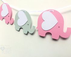 Elephant Garland Pink and Grey. Baby shower banner. Pastel Pink & Light Grey. Photo prop, First Birthday party, bunting, party decorations.