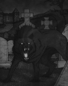 The Church Grim is a figure from English and Scandinavian folklore, said to be an attendant spirit, overseeing the welfare of its particular church. They may appear as black dogs. They are said to be the spirits of dogs buried alive in order to guard the church.