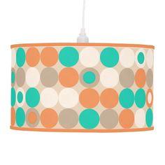 Funky Retro Circles Polka Dots Pattern Pendant Lamp