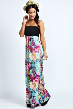 Totally would wear this If it was shorter...  Amelia contrast top floral maxi dress