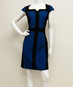 Look what I found on #zulily! Royal Blue & Black Cap-Sleeve Sheath Dress by Voir Voir #zulilyfinds
