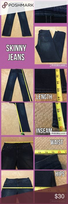 Rock Republic Skinny Jeans Measurements are in photos. Normal wash wear, no flaws. C1  Ask about a bundle discount on all items that are not ⏰Flash Sale items! I ship everyday. I always package safely. If I run out of boxes, I will use priority bags over a polymailer bag. If you prefer to only receive this great item in a box, please let me know! Thanks! Rock & Republic Jeans Skinny