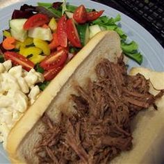 Easy crockpot meal.  Serve on sub buns with provalone, peppers and mustard.  Great for a crowd.