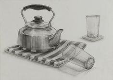 Pencil Sketch Drawing, Basic Drawing, Pencil Art Drawings, Art Drawings Sketches, Easy Drawings, Still Life Sketch, Still Life Drawing, Still Life Pencil Shading, Perspective Drawing Lessons
