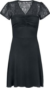 Kleid von Black Premium by EMP:  - mit Spitzeneinsatz im Skull-Design: 95% Polyester, 5% Elasthan - V- Ausschnitt - Brustteil mit mittiger Raffung - kurzarm - ausgestellte Form - weiche Haptik - Gesamtlänge bei Gr. S: ca. 90 cm  Du willst deinen männlichen Verehrern zeigen, dass mit dir nicht zu spaßen ist? Mit dem mittellangen Kleid von Black Premium by EMP 'Skull Lace Dress' kannst du allen zeigen, was du hast. Der Spitzeneinsatz im Skull-Design zieht nur die richtigen Männer an.