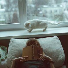 Acabar dormindo enquanto lê #chuva