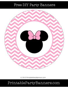 Carnation Pink and White Circle Chevron Minnie Mouse
