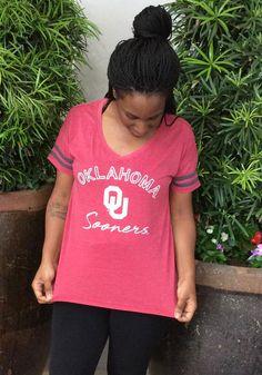 Colosseum Oklahoma Sooners Womens Crimson Savona Short Sleeve T-Shirt - 150300945 Short Sleeve Tee, Short Sleeves, Oklahoma Sooners, Screen Printing, Stripes, Tees, T Shirt, Women, Screen Printing Press